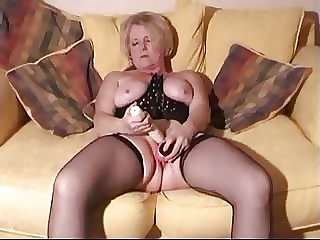 Tow-haired mature in the air toys and cock in their way wringing wet pussy