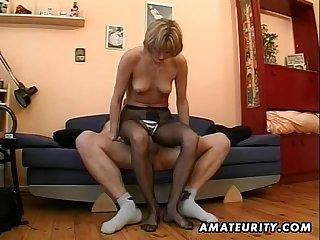 Hot amateurish Milf masturbates, sucks with an increment of fucks with cum