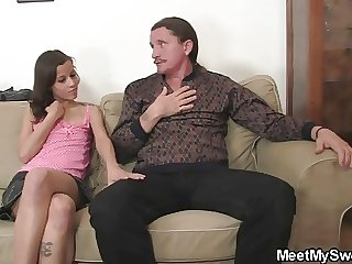 Slutty GF jumps on her BF's dad cock