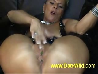 www.DateWild.com - Grown-up milf masturbate gets fuck by lollipop so hot