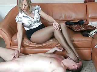 adult nylon spitting foot fetish and handjob 7
